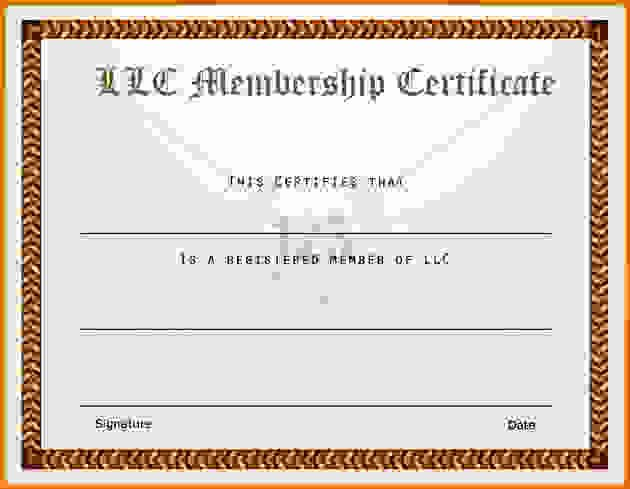Llc Member Certificate Template Luxury Membership Certificate Templatereference Letters Words