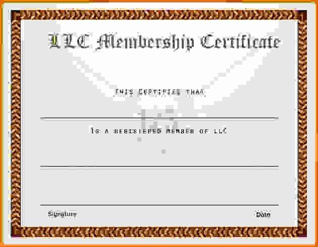 Llc Membership Certificate Template Awesome Membership Certificate Templatereference Letters Words