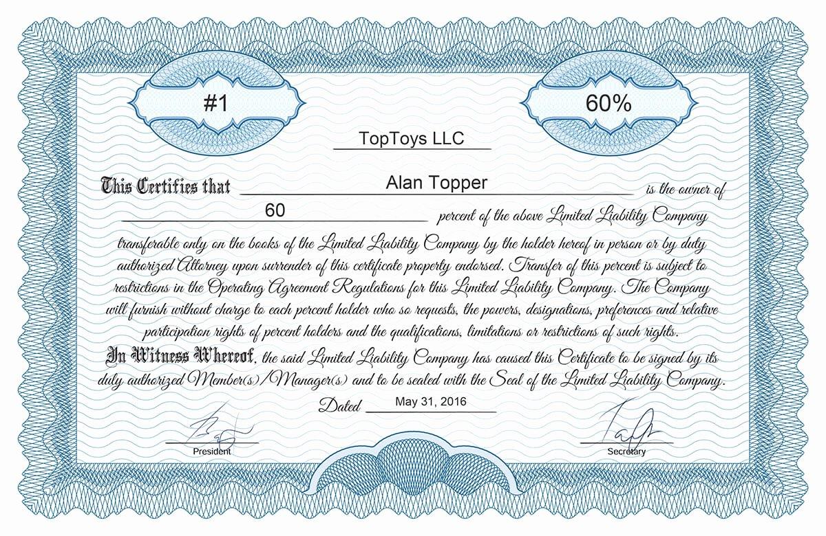 Llc Membership Certificate Template Elegant Free Stock Certificate Online Generator