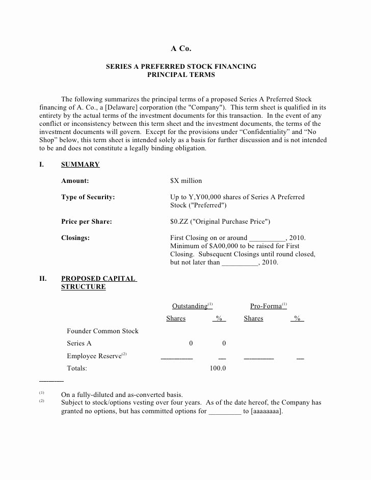 Loan Term Sheet Template Best Of Sample Silicon Valley Series A Term Sheet From Dla Piper