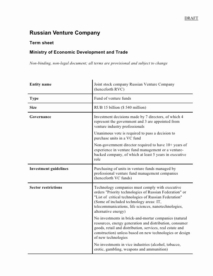 Loan Term Sheet Template Elegant Russian Venture Pany Term Sheet