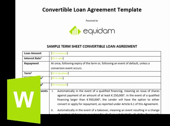 Loan Term Sheet Template Fresh Convertible Note Template
