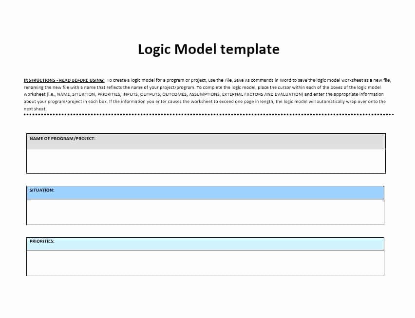 Logic Model Template Word Fresh 11 Logic Model Templates