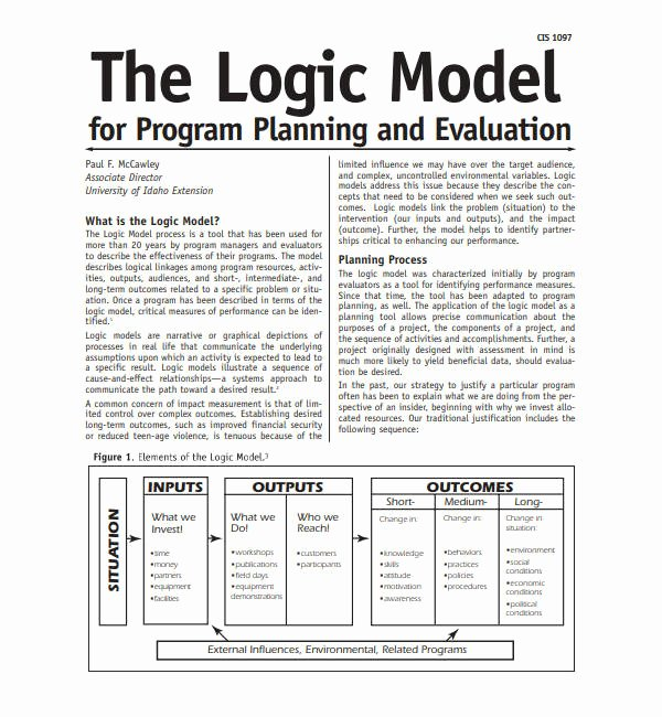 Logic Model Template Word Unique 5 Logic Model Templates Word Pdf