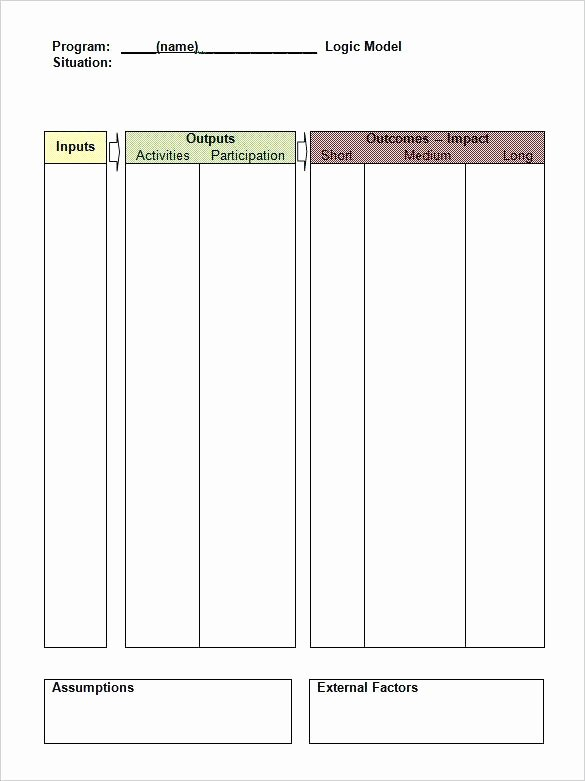 Logic Model Template Word Unique Logic Model Table format Word Document Blank Program