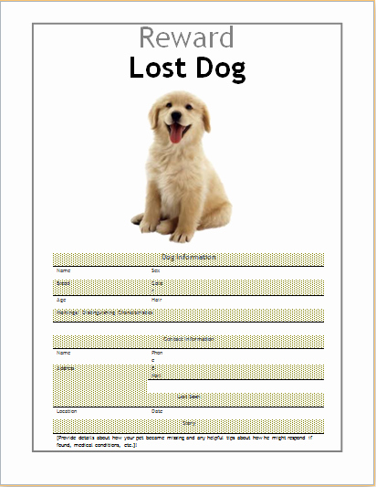 Lost Dog Flyer Template New 10 Ms Word Editable Printable Flyer Templates