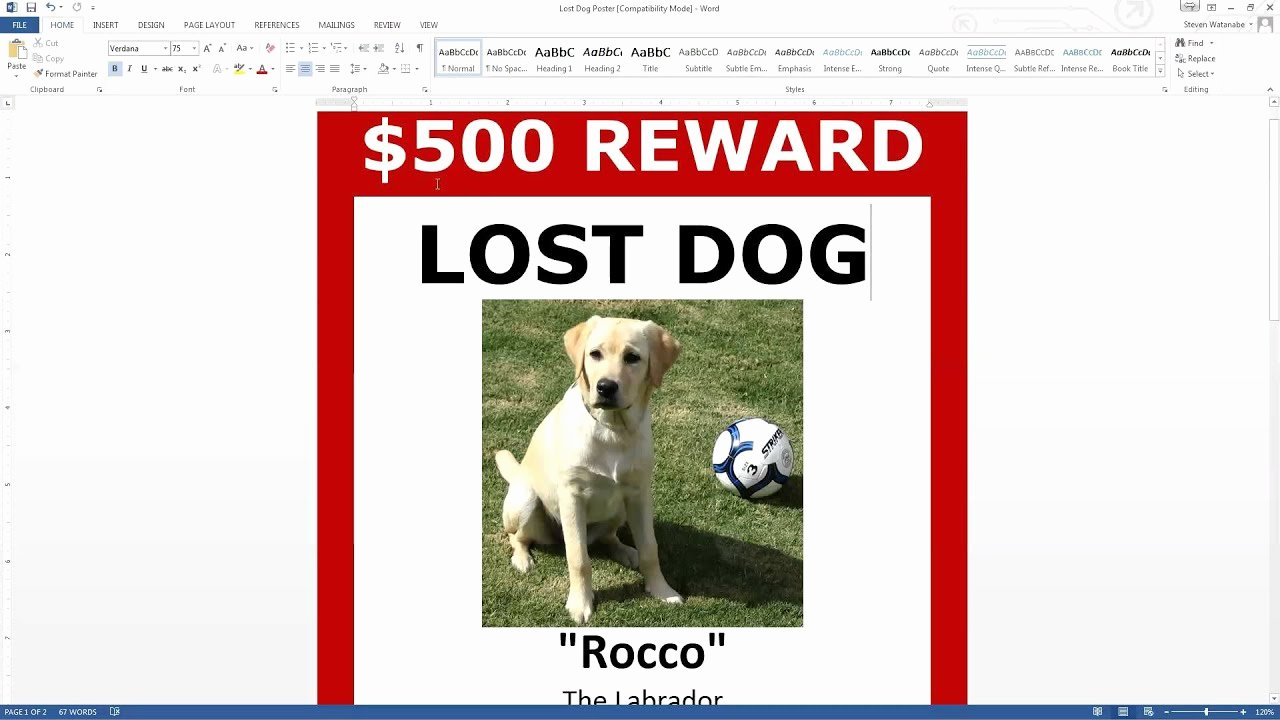 Lost Dog Poster Template Best Of Lost Dog Poster Template Free Download Ms Word