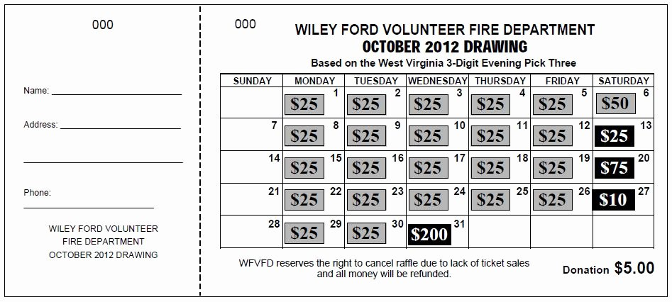 "Lottery Ticket Fundraiser Template Awesome ""jumbo Calendar"" Raffle Tickets"