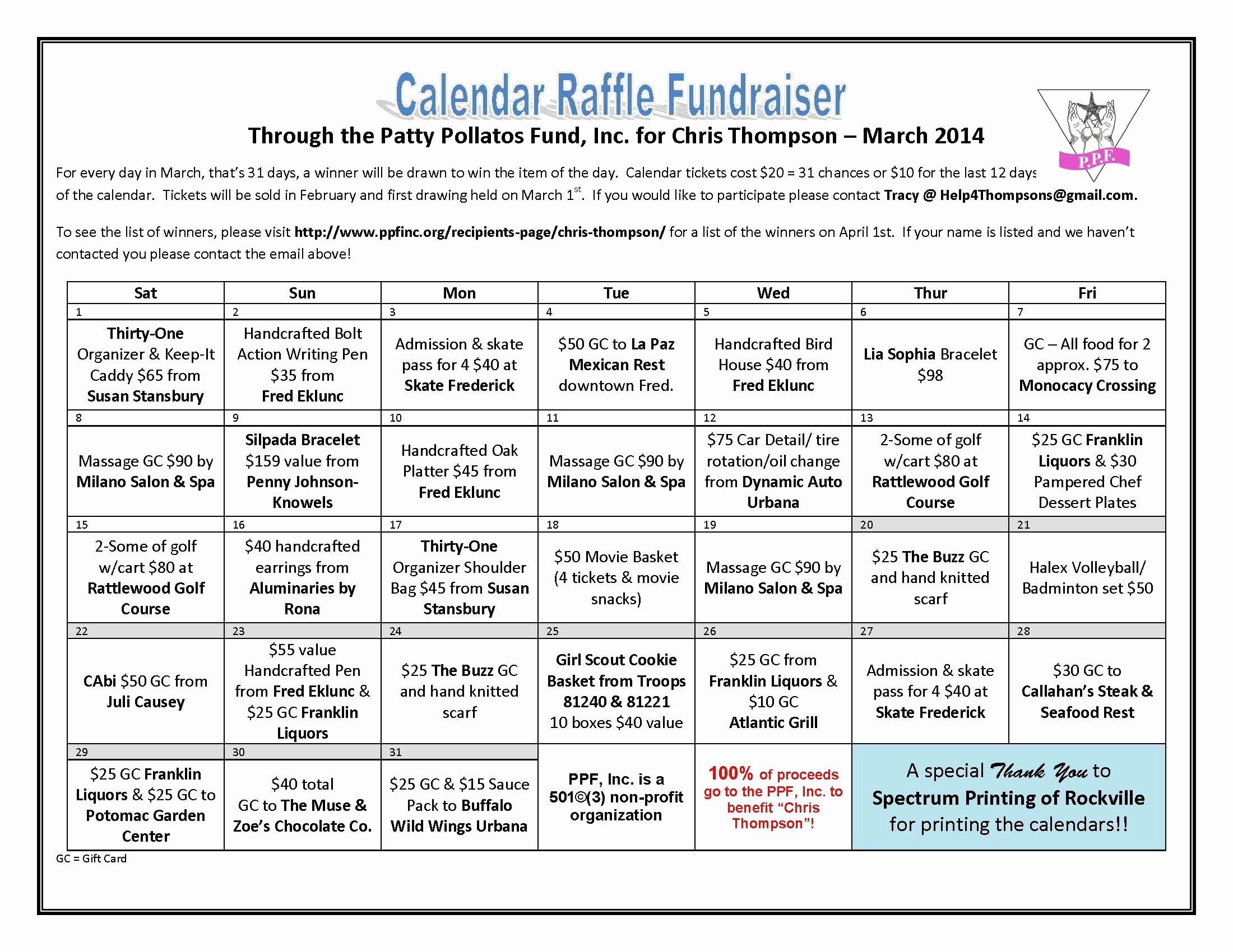 Lottery Ticket Fundraiser Template Beautiful Thompson Raffle Fundraiser Calendar Final