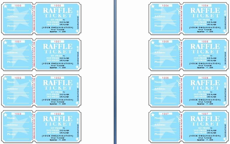 Lottery Ticket Fundraiser Template Inspirational Sample Raffle Tickets the Template Has Six Tickets On A