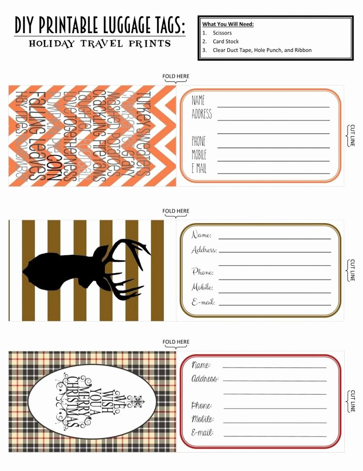 Luggage Name Tag Template Awesome Printable Luggage Tags Holiday Travel Edition