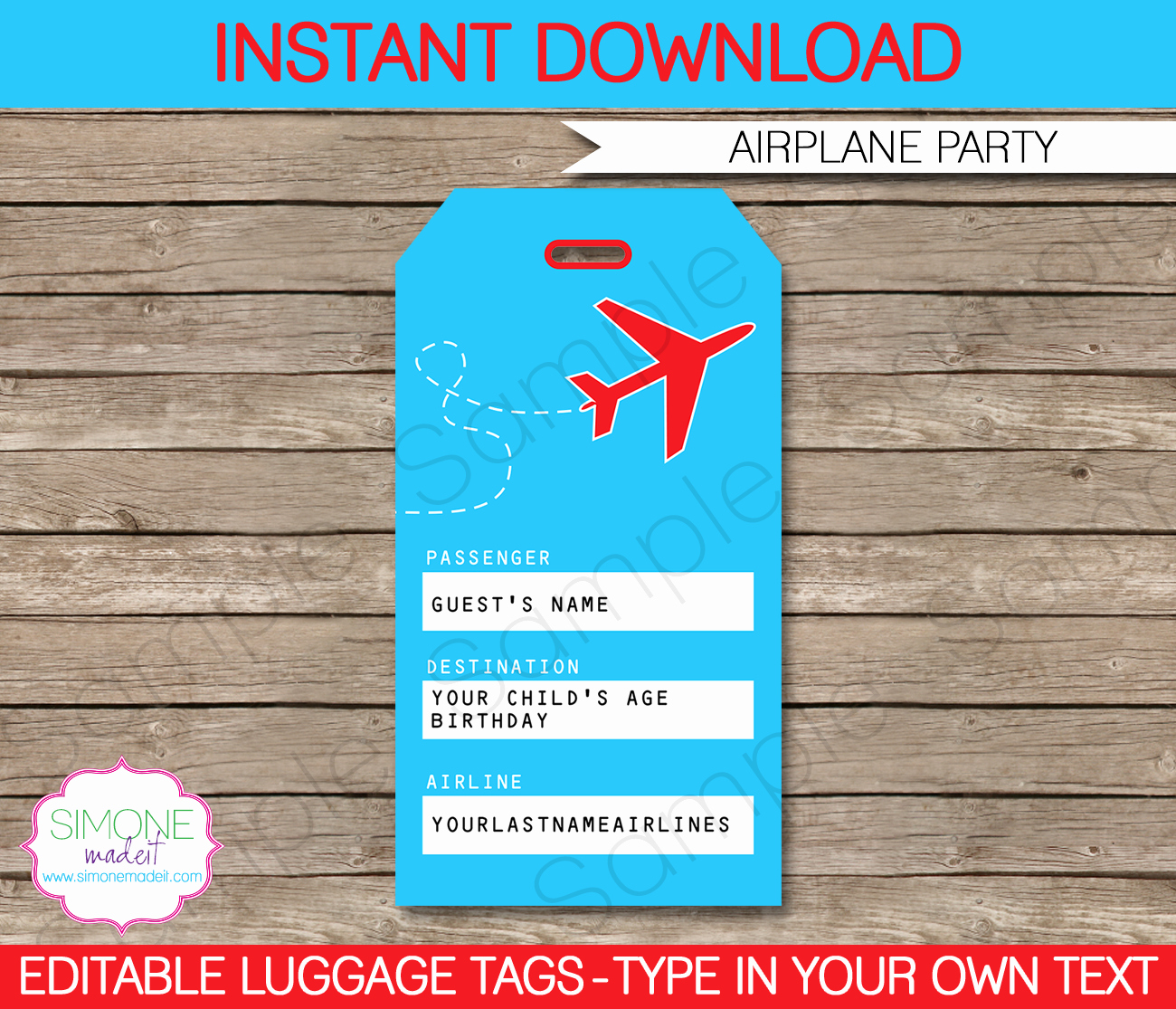Luggage Name Tag Template Luxury Airplane Party Printables Invitations & Decorations