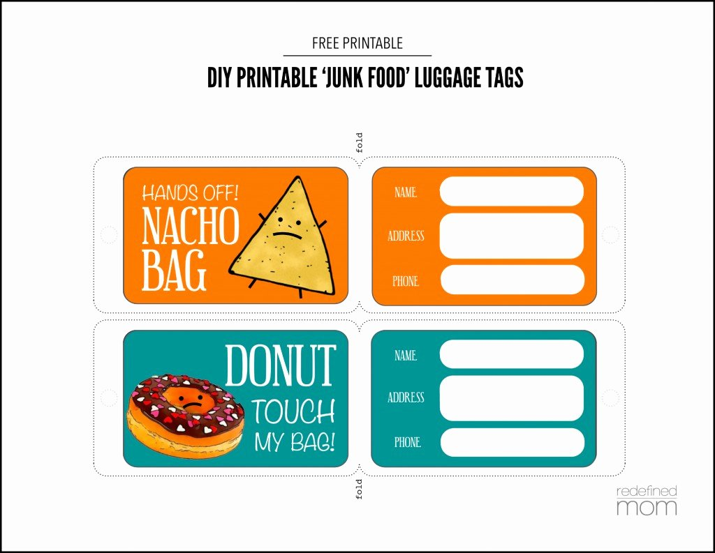 Luggage Name Tag Template Unique Diy Printable Junk Food Luggage Tags