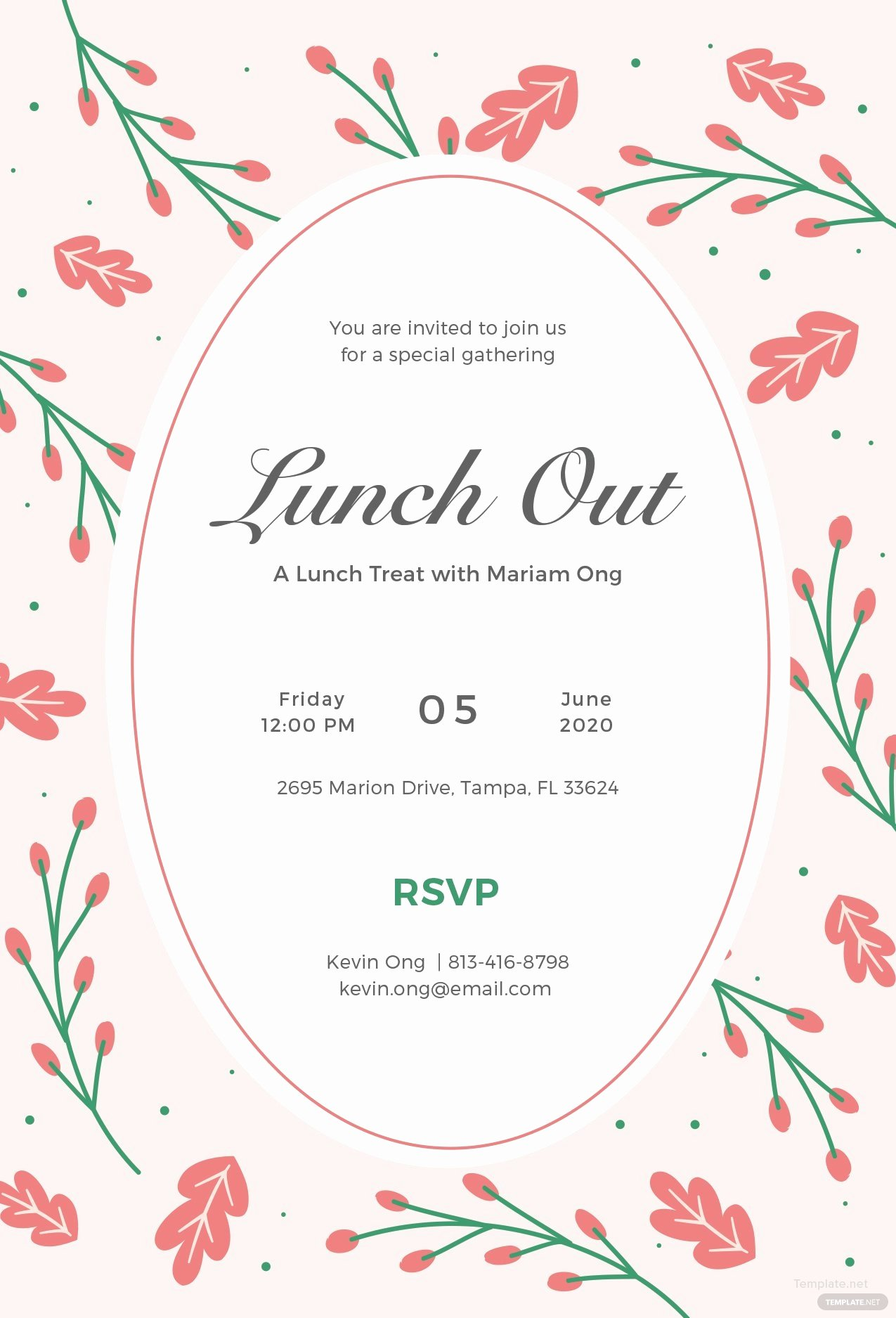 Lunch Invitation Template Free Inspirational Free Lunch Invitation Template In Illustrator