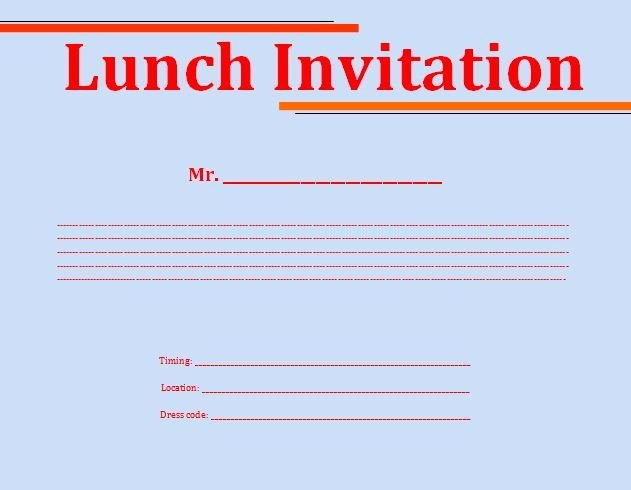 Lunch Invitation Template Free Inspirational Lunch Invitation Template