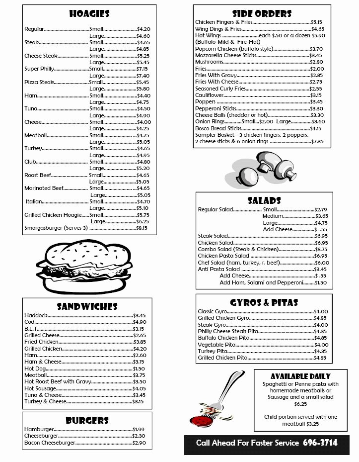 Lunch Menu Template Free Awesome Box Lunch Menu Template