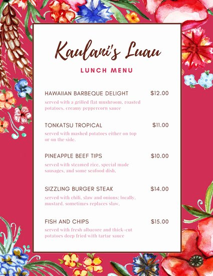 Lunch Menu Template Free Awesome Menu Templates Canva