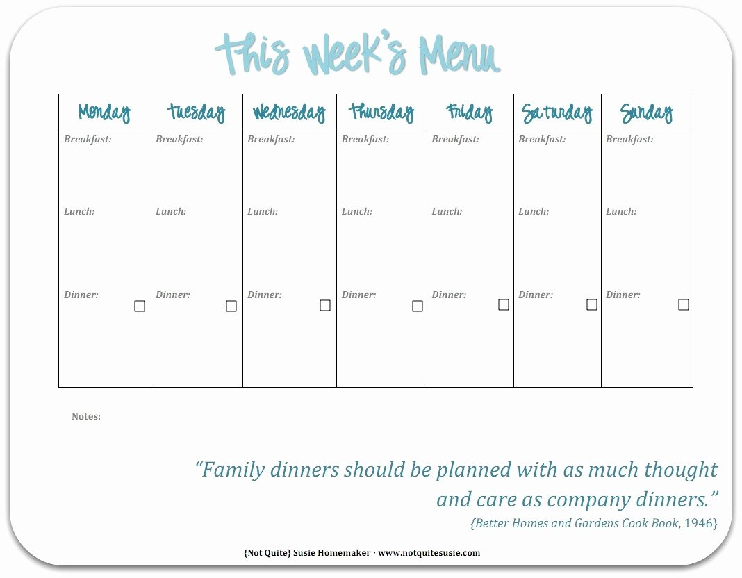 Lunch Menu Template Free Beautiful Free Printable Weekly Meal Planner Not Quite Susie