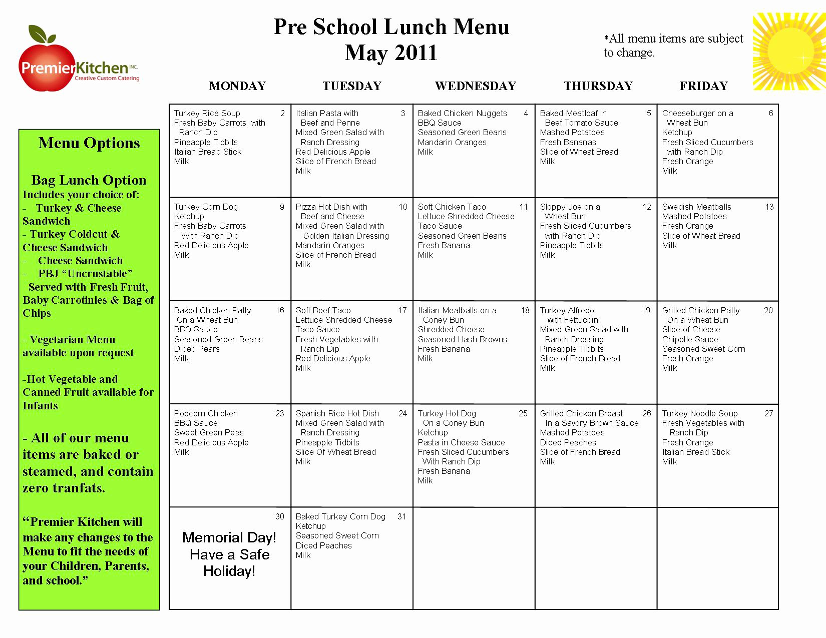 Lunch Menu Template Free Best Of Printable Blank Day Care Menus to Pin On