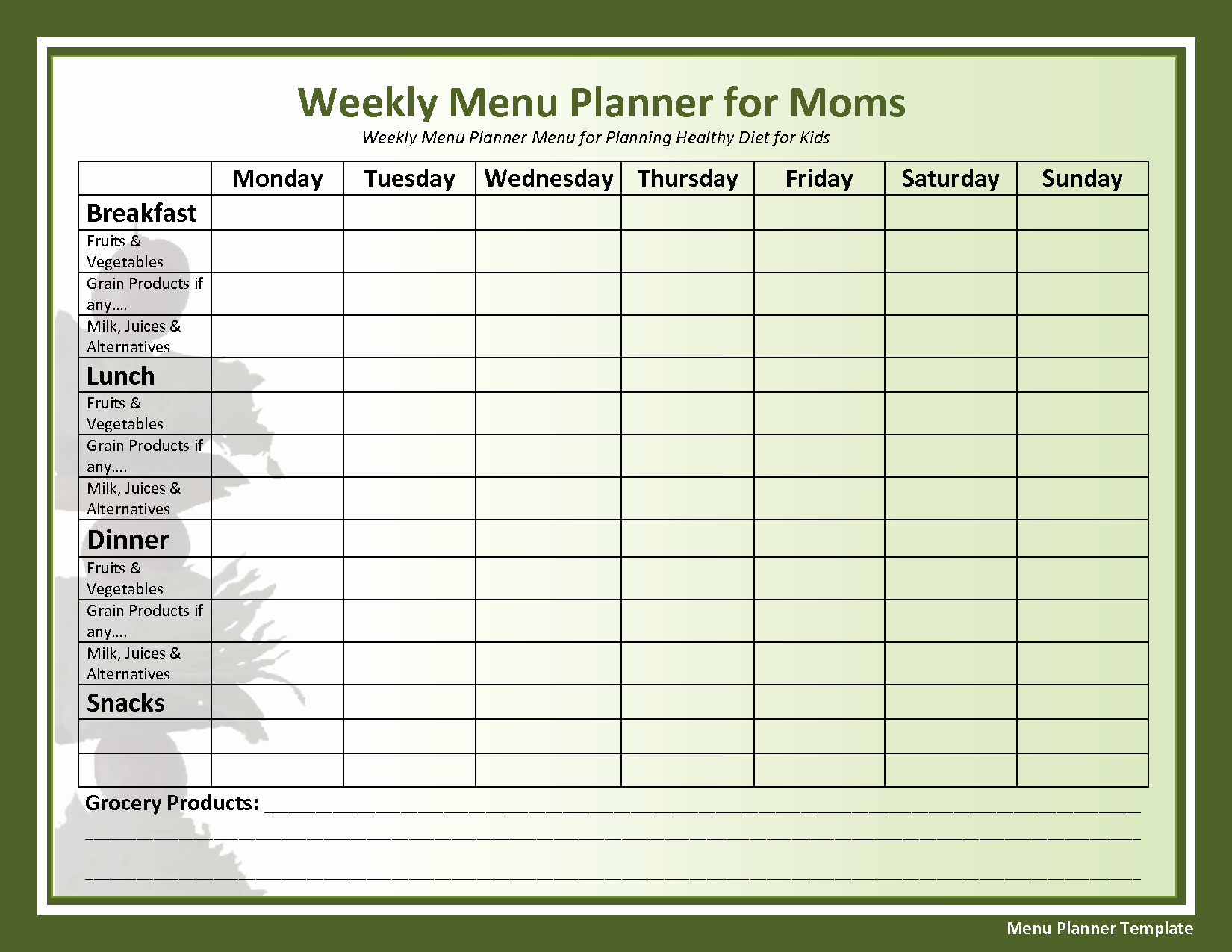 Lunch Menu Template Free Inspirational Weekly Menu Template