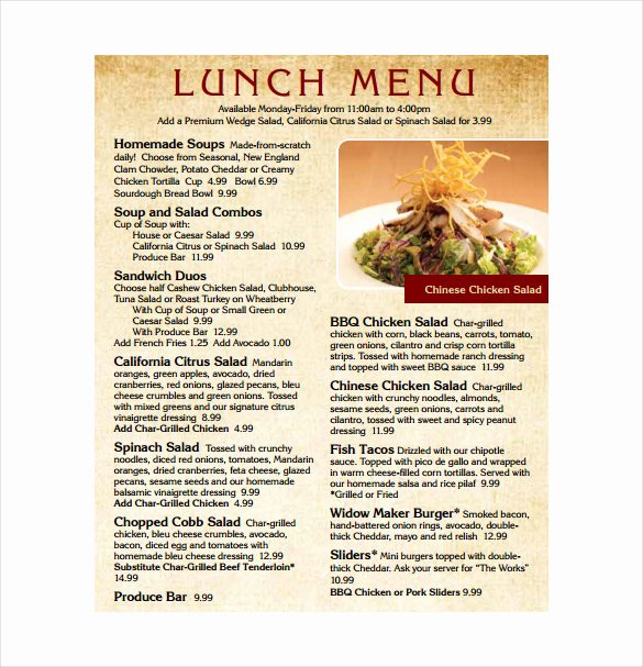 Lunch Menu Template Free New Lunch Menu Templates 31 Free Word Pdf Psd Eps