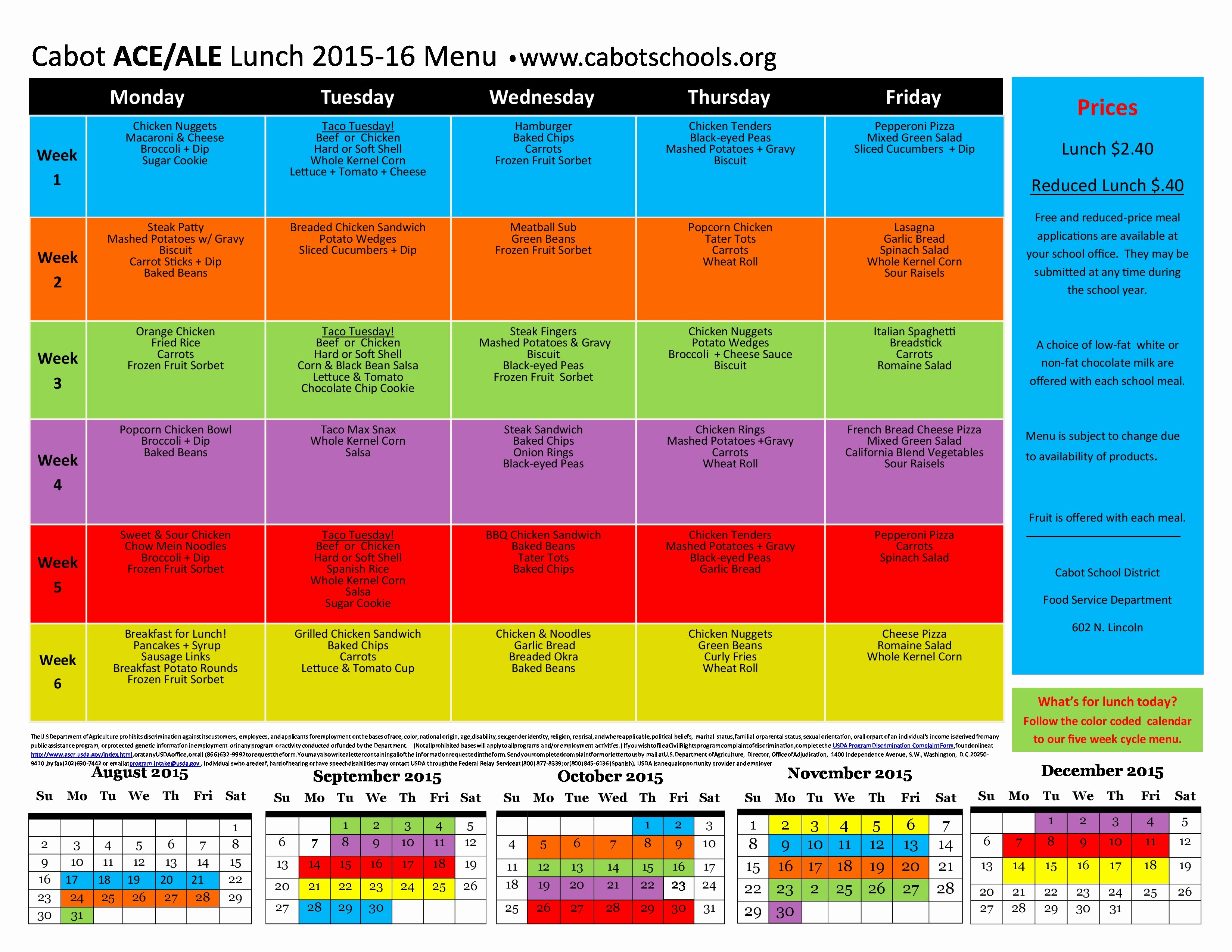 2015 2016 school lunch menus