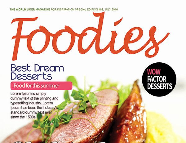 Magazine Cover Template Psd Beautiful Food Magazine Cover Psd Template – Graphicloads