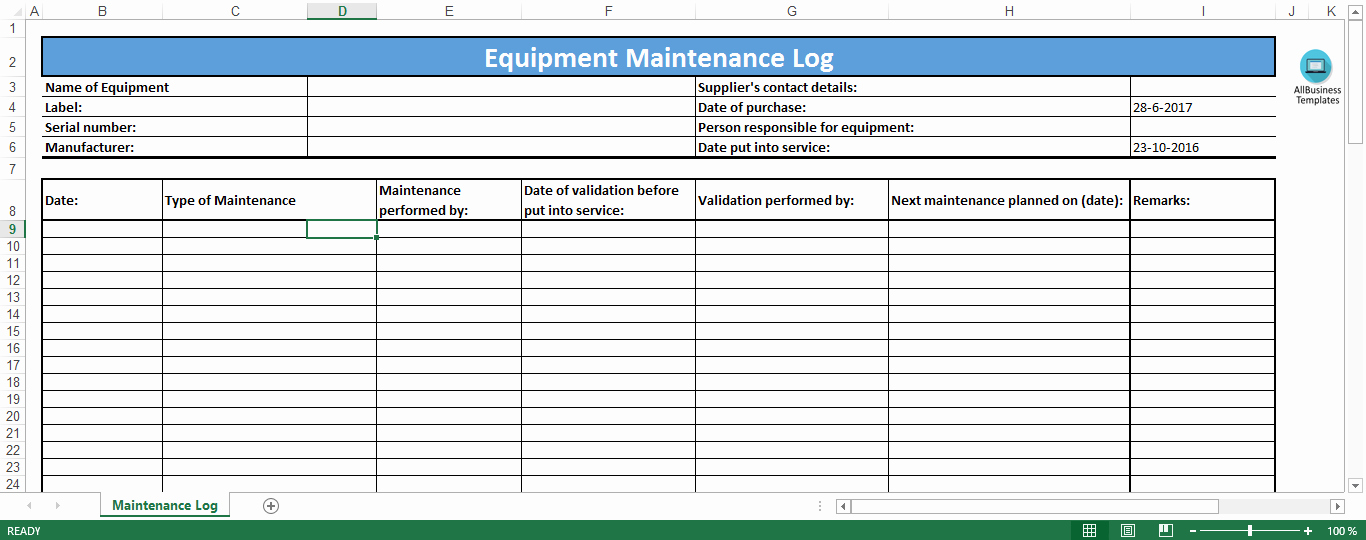 Maintenance Log Template Excel Awesome Free Equipment Maintenance Log Excel Template