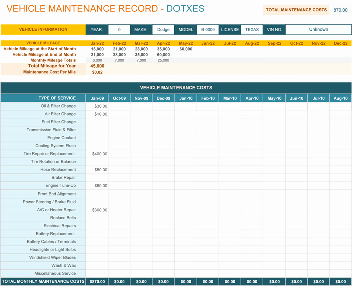 vehicle maintenance log template