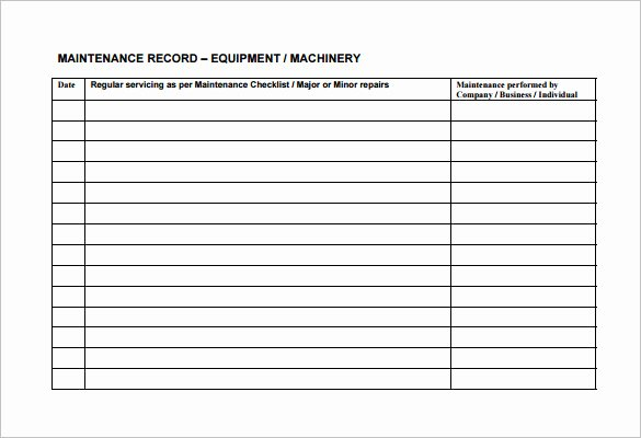 Maintenance Log Template Excel Lovely Equipment Maintenance Schedule Template Excel