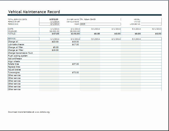Maintenance Log Template Excel Lovely Vehicle Maintenance or Service Record Log