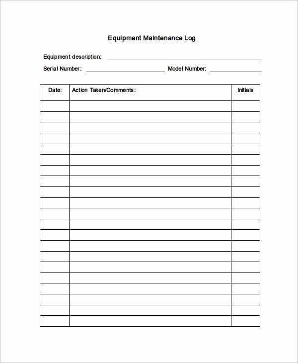 Maintenance Log Template Excel Luxury Maintenance Log Template 11 Free Word Excel Pdf