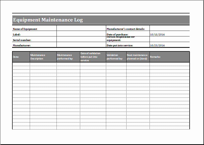 Maintenance Log Template Excel Unique Equipment Maintenance Schedule Template Excel