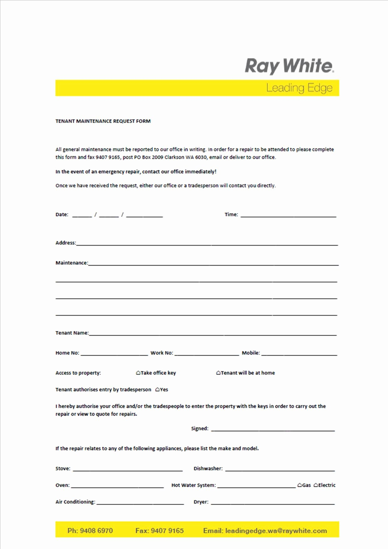 Maintenance Request form Template Awesome Maintenance Request form Design Templates