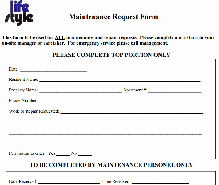 Maintenance Request form Template Elegant 6 Free Maintenance Request form Templates Word Excel