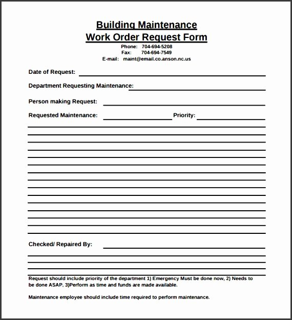 Maintenance Request form Template Elegant 6 Maintenance Request form Template Sampletemplatess