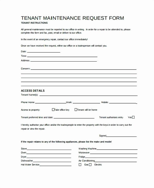 Maintenance Request form Template Lovely It Maintenance Email Template – Chaseevents