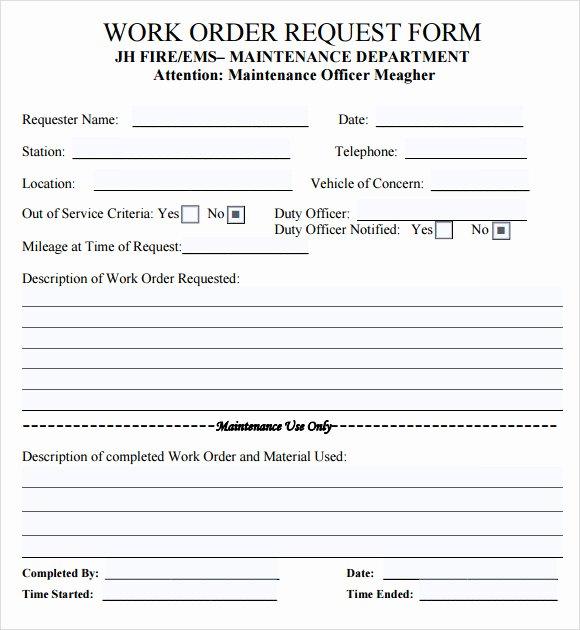 Maintenance Work order Template Beautiful 14 Work order Samples – Pdf Word Excel Apple Pages