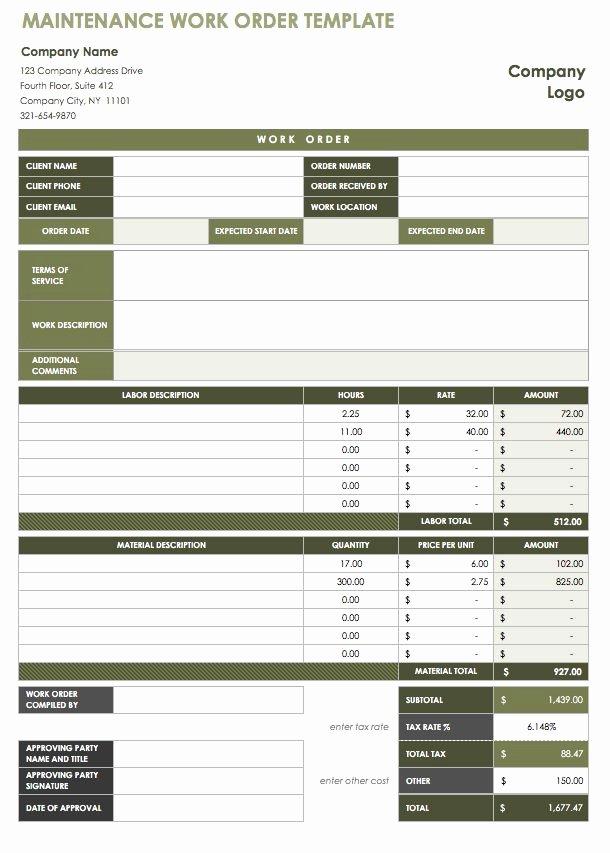 Maintenance Work order Template Lovely 15 Free Work order Templates