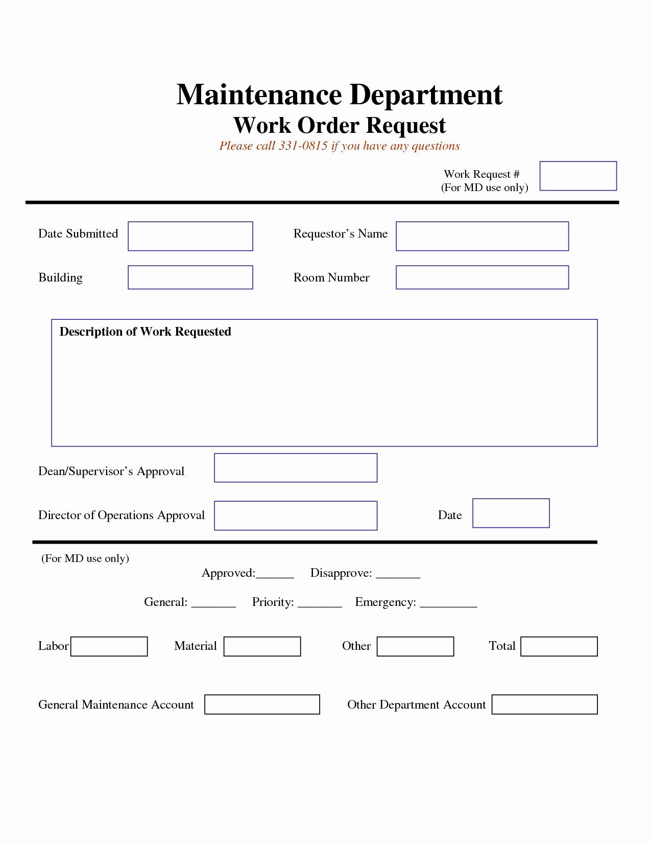Maintenance Work order Template New Work Request form