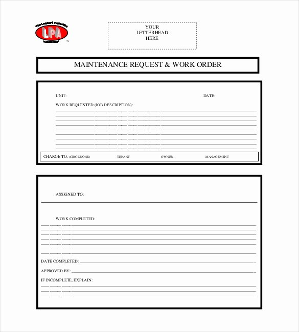 Maintenance Work order Template Unique 20 order Template Word Excel Pdf