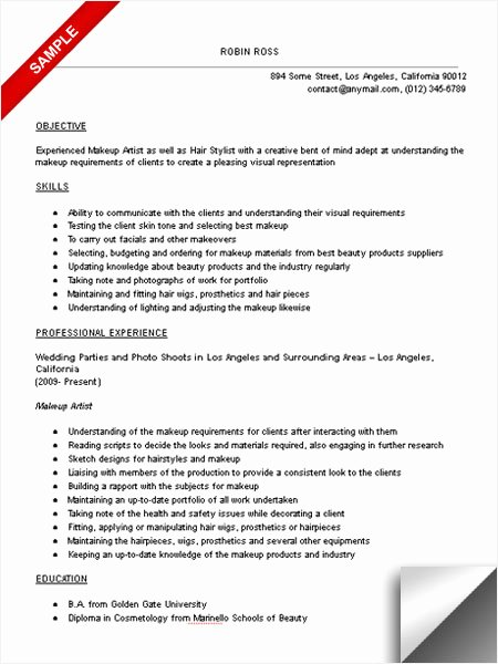 Makeup Artist Resume Template Awesome Makeup Artist Resume Sample Limeresumes