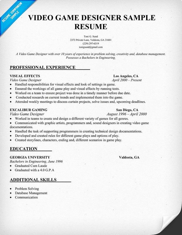 Makeup Artist Resume Template Awesome Video Game Designer Resume Sample Resume Panion
