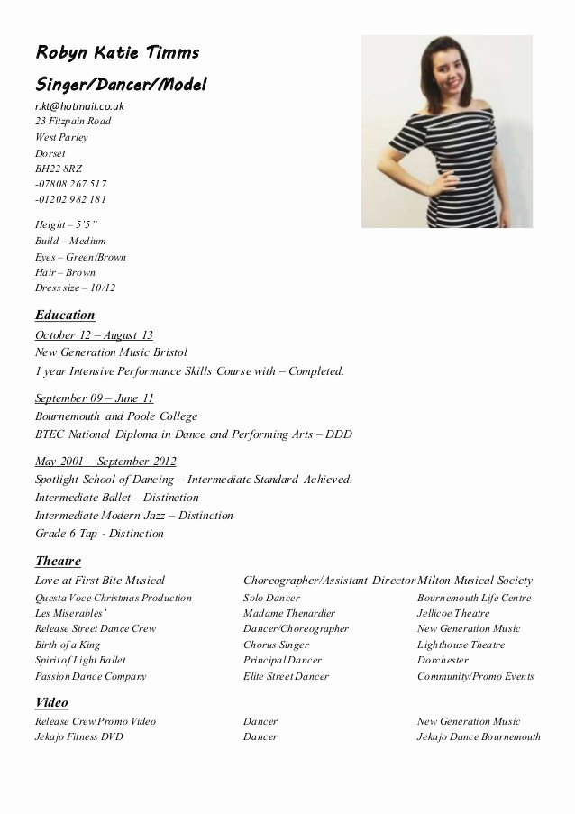 Makeup Artist Resume Template Fresh Robyn Performance Cv Up to Date