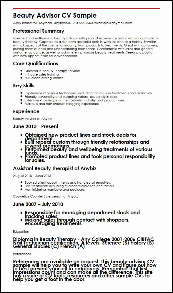 Makeup Artist Resume Template New Beauty Advisor Cv Sample