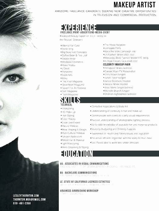 Makeup Artist Resume Template New Freelance Makeup Artist Resume Lovely Artist Resumes