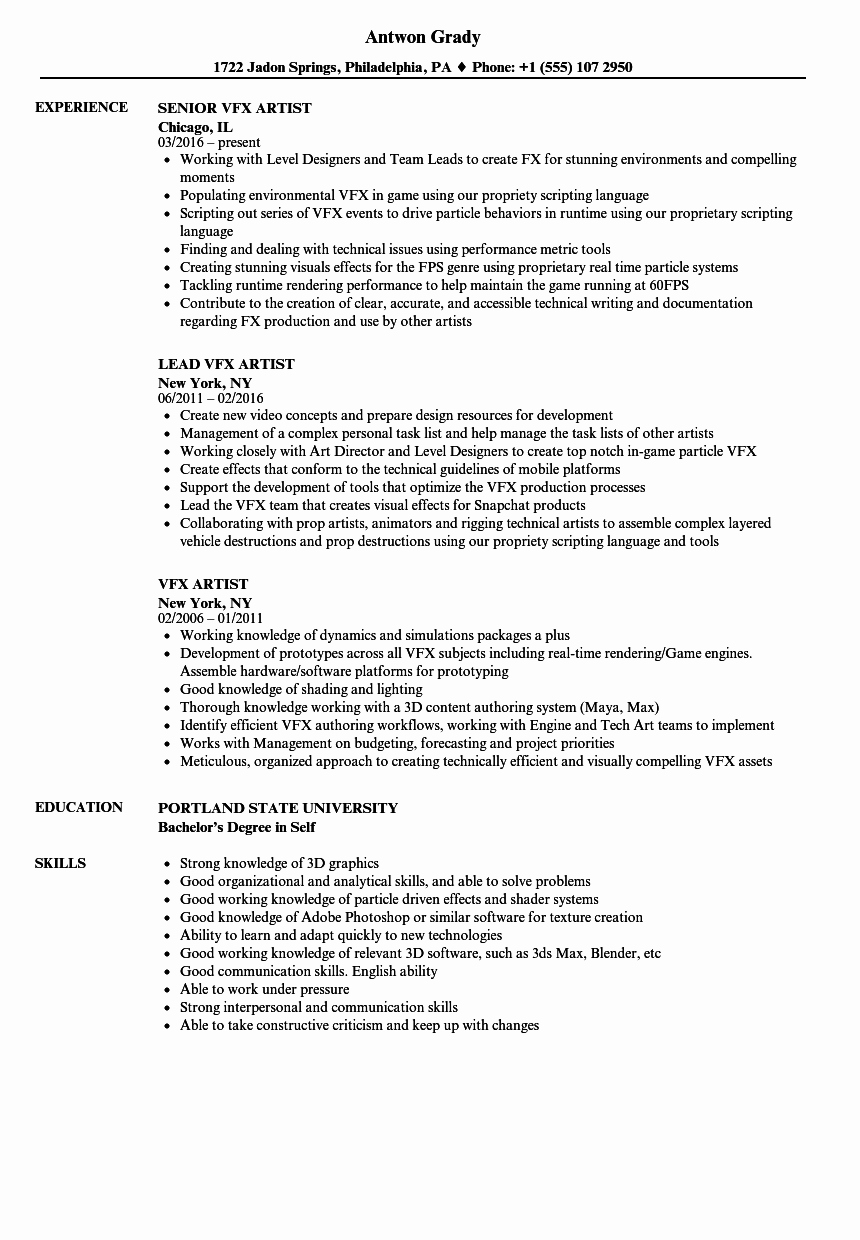 Makeup Artist Resume Template Unique Vfx Artist Resume Samples