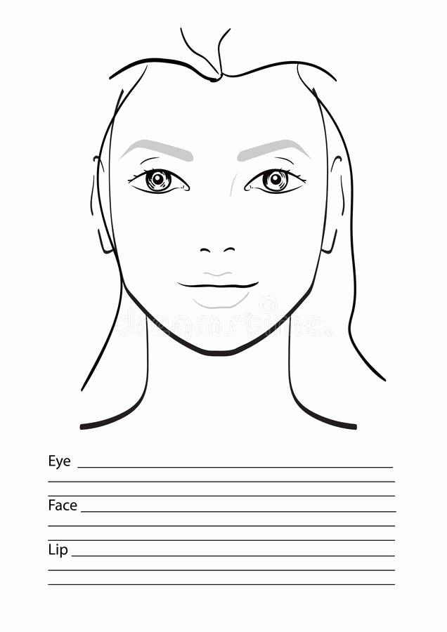 Makeup Artist Website Template Inspirational Face Chart Makeup Artist Blank Stock Illustration