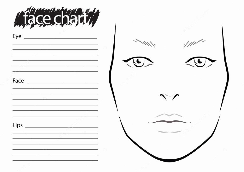 Makeup Artist Website Template Inspirational Face Chart Makeup Artist Blank — Stock Vector