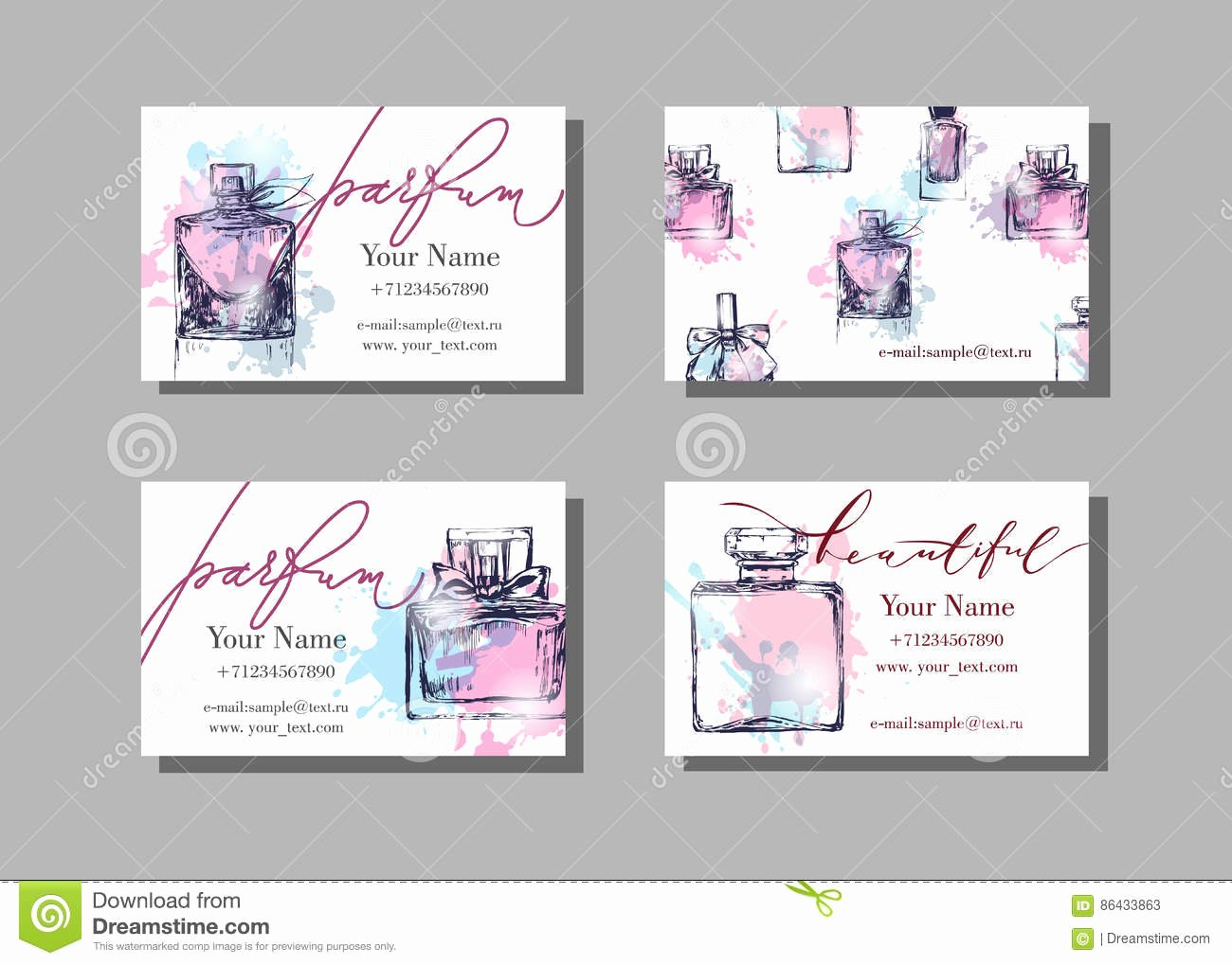 stock illustration makeup artist business card vector template beautiful perfume bottle fashion beauty background eps image